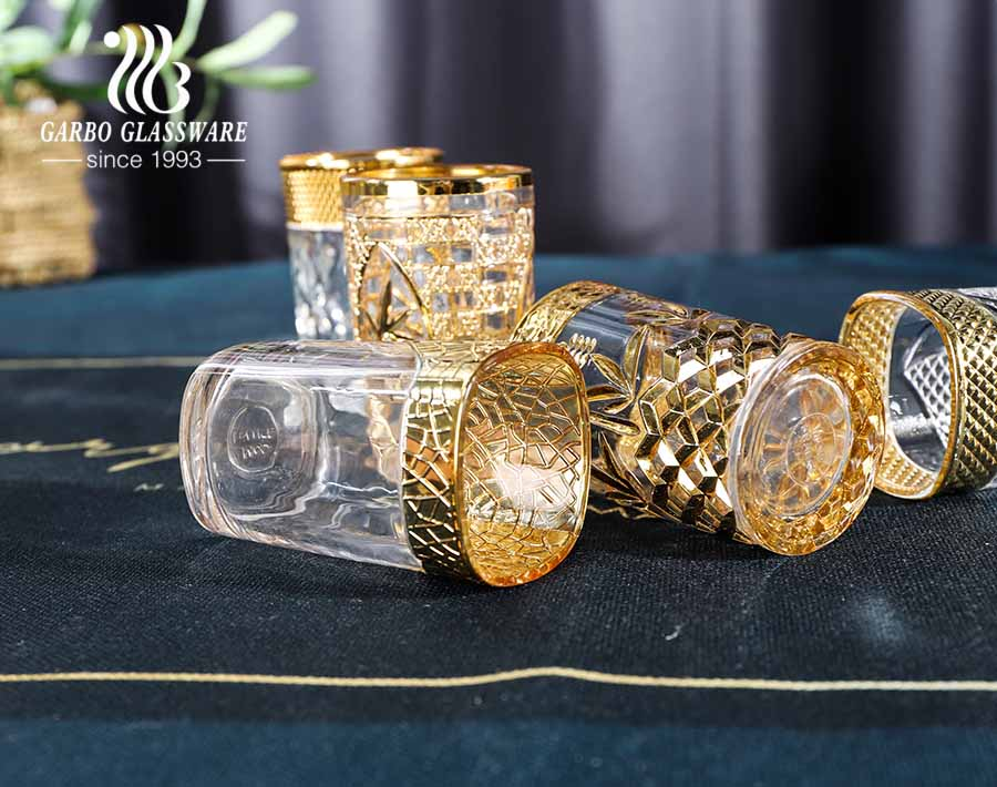 Electroplated unfading color golden engraved glass cup for Middle East markets