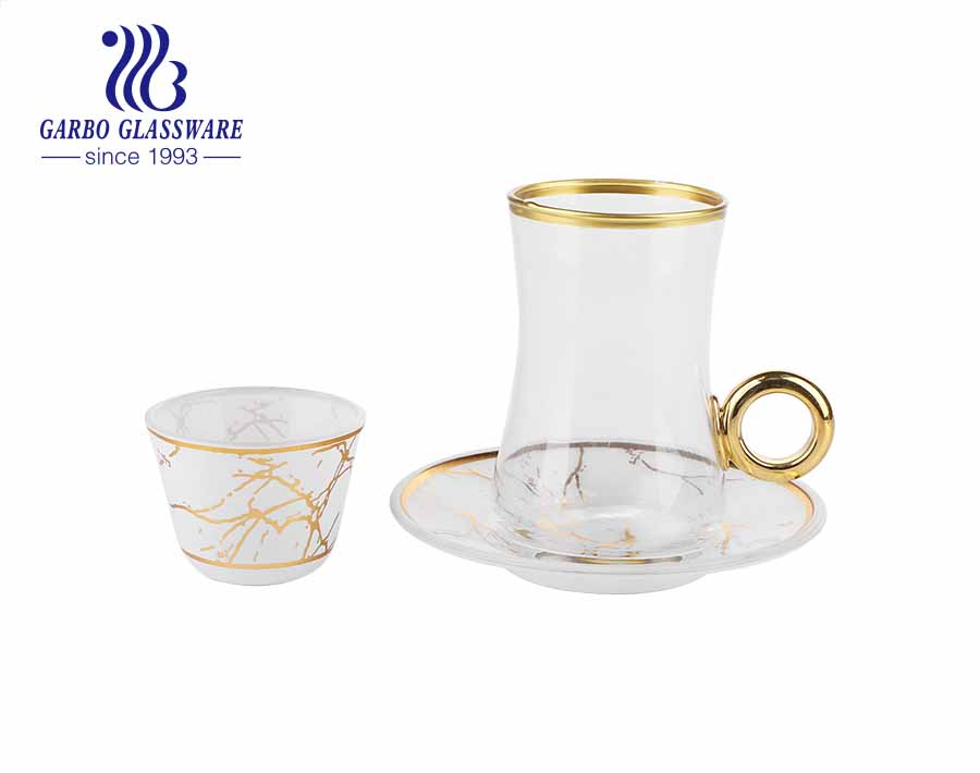 7oz gold rimmed glass tea mugs with decal dish saucers glass tea cup set