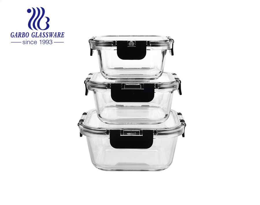 3-Piece Superior Glass Food Storage Containers Set with transparent locking lids