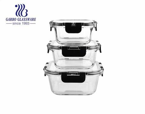 طقم أوعية تخزين طعام زجاجية فاخرة من 3 قطع مع أغطية قفل شفافة