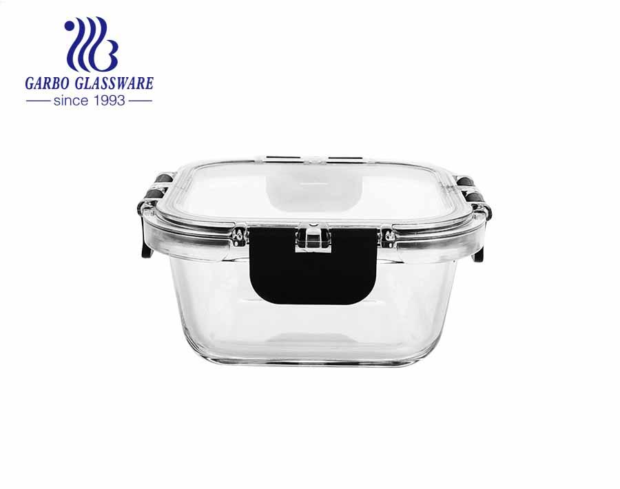 Conjunto de recipientes de vidro superior para armazenamento de alimentos de 3 peças com tampas de travamento transparentes