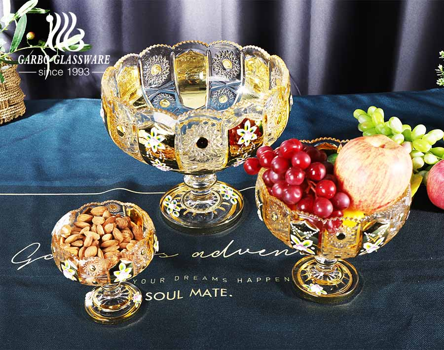 gold plating design high-white fruit glass bowl set with sunflower edged carved pattern