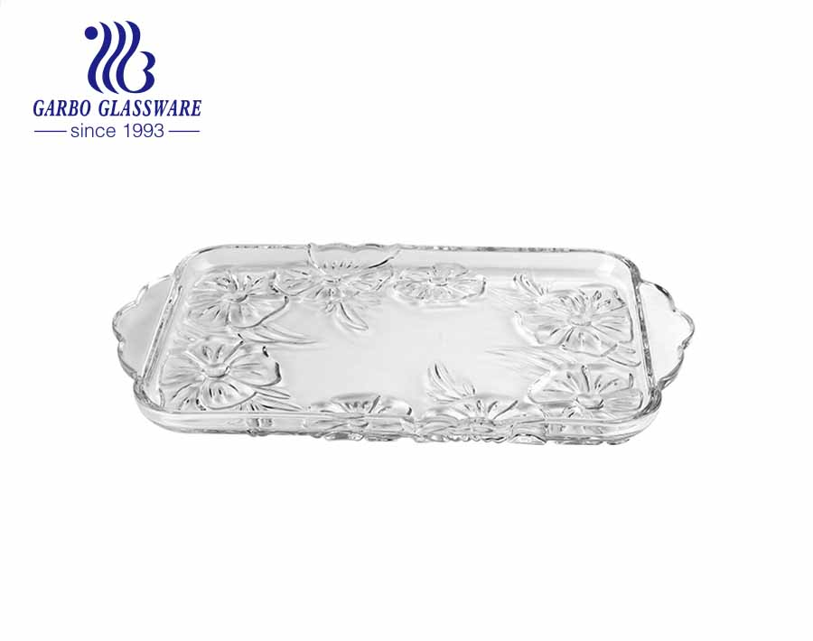 Rectangular glass fruit plate with neat plum blossom engraved pattern design