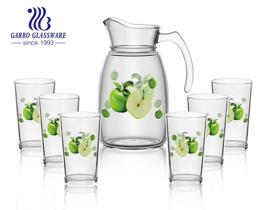 5 PCS machine-made pumpkin glass water drinking pot with baby green handle and acrylic lid for family use