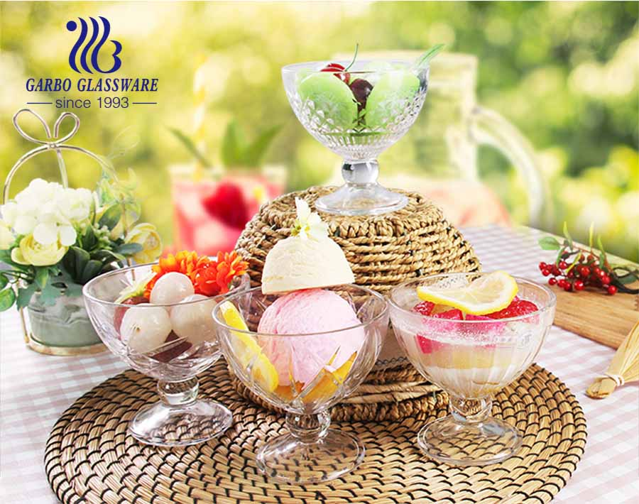 Wide mouth Conch Design Glass Ice Cream Bowl stemware glass dessert cup crystal lead free