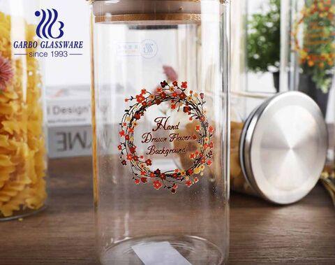 1200ml-1800ml high borosilicate transparent bamboo lid food storage round glass jar