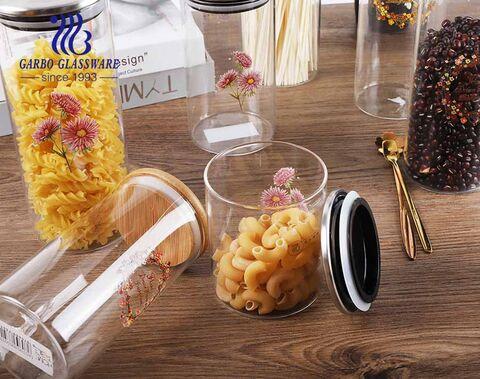Rundform-Borosilikatglasflasche mit unterschiedlicher Kapazität zur Aufbewahrung von Lebensmitteln
