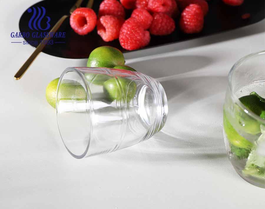 Vaso de vidrio con forma de huevo de estilo coreano japonés moderno con raya para té