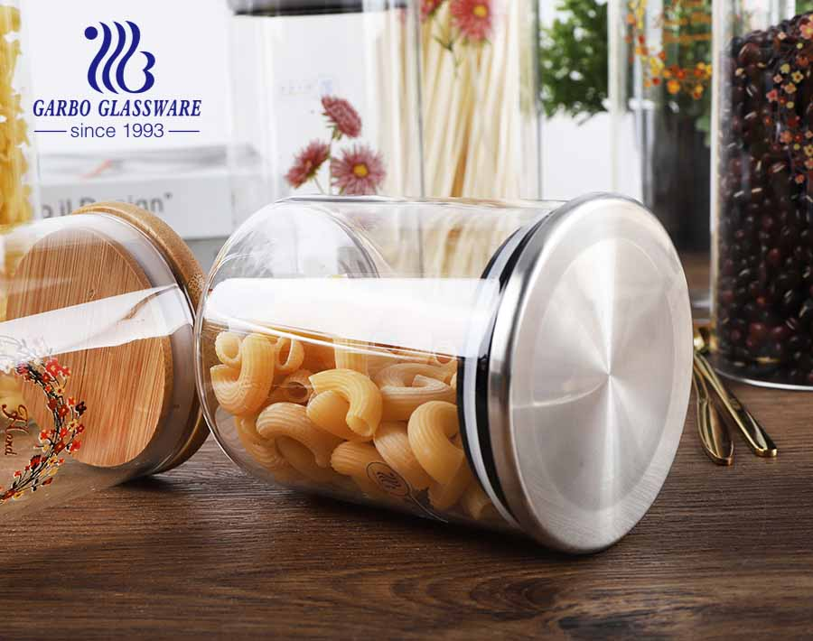 800 ml food storage jar with airtight seal bamboo lid glass food storage canister for serving coffee tea spice