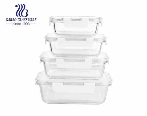 Conjunto de lancheiras de vidro hermético 4 unidades recipientes para alimentos com tampas à prova de vazamento