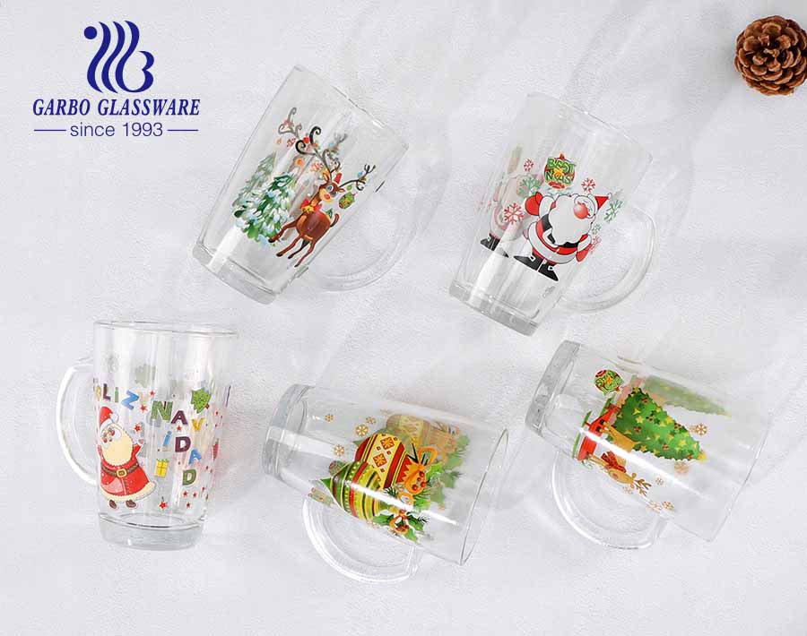 11.5oz Christmas design glass tea cups with handle OEM custom logo design glass mugs