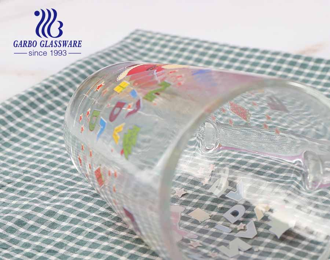 11.5oz Christmas design glass tea cups with handle OEM custom logo design glass mugs