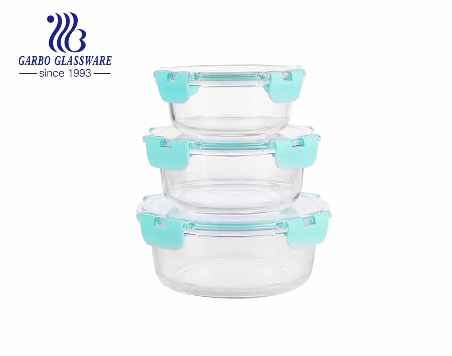 Juego de 3 fiambreras redondas de vidrio para microondas, horno, congelador, lavavajillas
