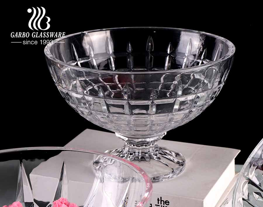 Garbo new model design engraved pattern clear glass ice cream fruit bowl set with stands and 4 designs