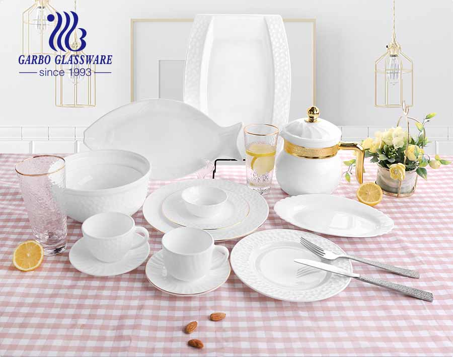 5.5 INCH White Opal Glass Dessert Plates Dinner Plates with Gold Rim For Home