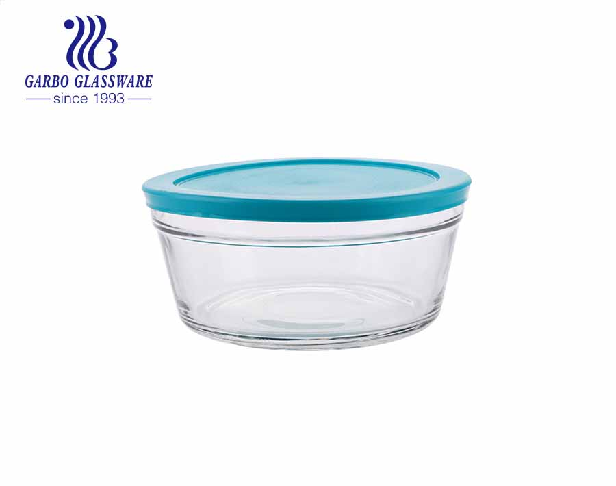 Handmade airtight glass food container glass salad mixing bowls with light blue lid for refrigerator