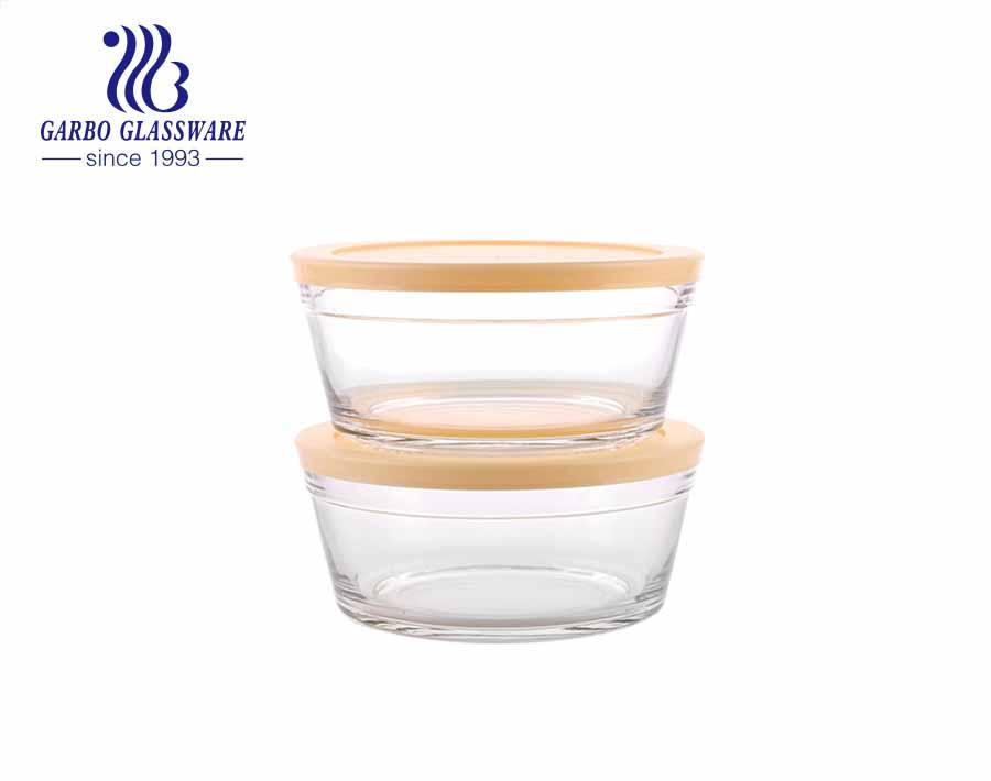 Recipiente de vidro hermético artesanal para misturar pratos de salada de vidro com tampa azul claro para geladeira