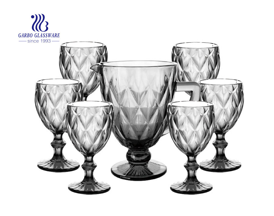 7PCS lilac vintage glass water drinking jug set with engraved diamond design for home hotel use with wholesale price