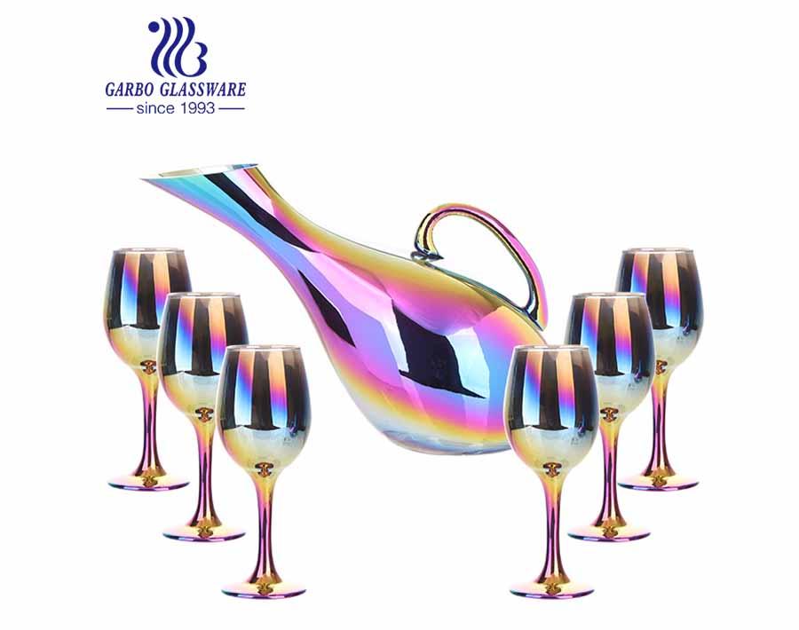 Garbo Decater De Recubrimiento De Iones De Colores Decorativos Inclinado Decantador De Copa De Vino Tinto