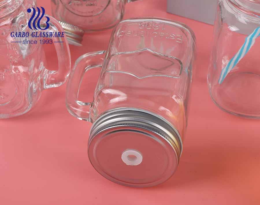 Frasco de vidro de 16 onças para feira do condado com alça