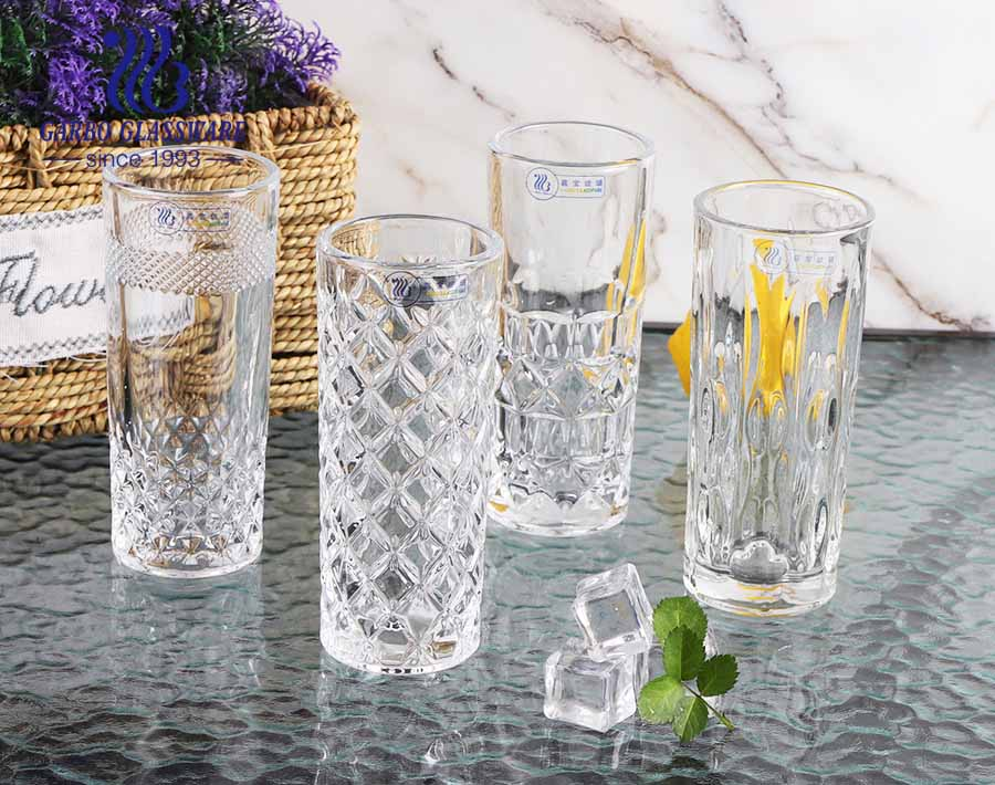 Tall and slim shape 9oz engraved cup Garbo Glassware developed mold