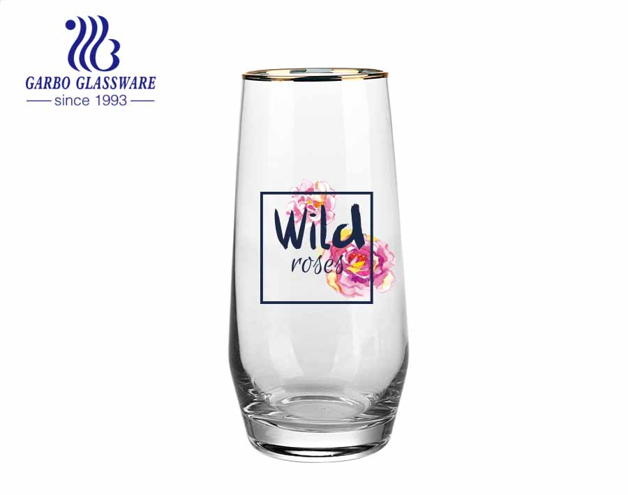 In stock small order low MOQ glass tumbler with OEM customised decal printing