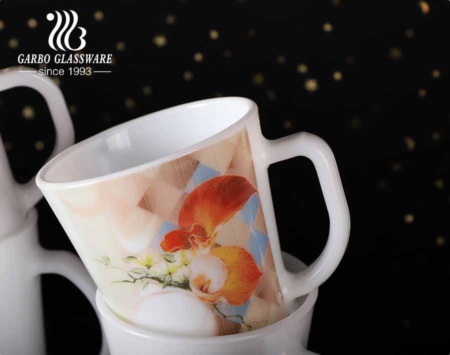 Canecas de vidro opala 14 onças com desenhos de flores decalque