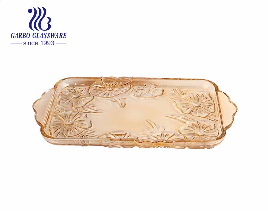 15inches rectangular glass fruit plate glass tray with neat plum blossom engraved pattern for tabletop