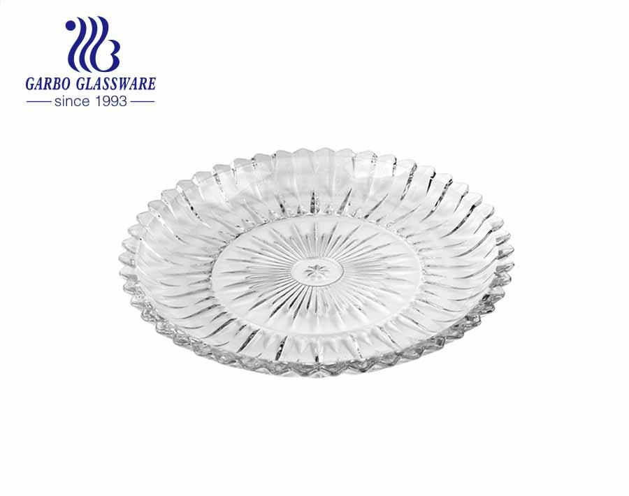 Bandeja de vidro retangular com prato de frutas de 15 polegadas com padrão gravado em flor de ameixa para mesa