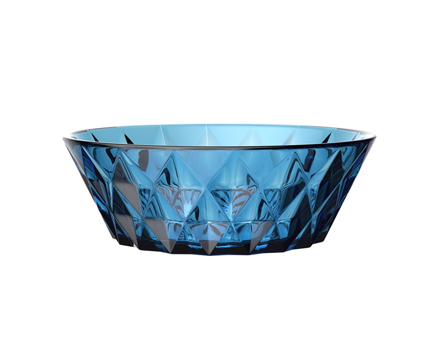 New Design Style 9-inch Solid Color Glass Fruit Salad Bowl with Rhombic Diamond Pattern