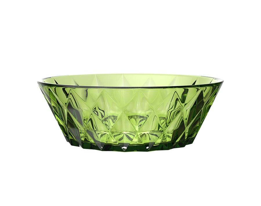 Nuevo estilo de diseño Cuenco de ensalada de frutas de vidrio de color sólido de 9 pulgadas con patrón de diamante rómbico