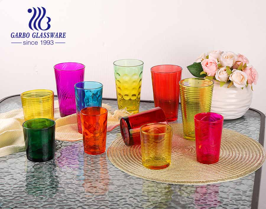 14oz big dot design glass tumbler with spray color for water drinking home using