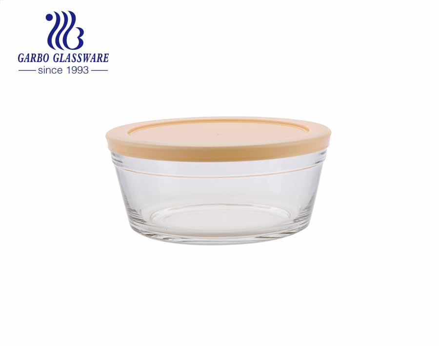 High quality lotus pink soda-lime glass mixing salad bowl with airtight lid food container for keeping fresh with cheap price