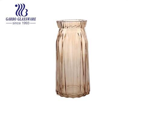 حامل زهور زجاجي كهرماني عتيق مزهرية زجاجية منضدية موضة 9.5 بوصة ارتفاع ديكور المنزل المثالي للزفاف استخدام زجاجة زجاجية