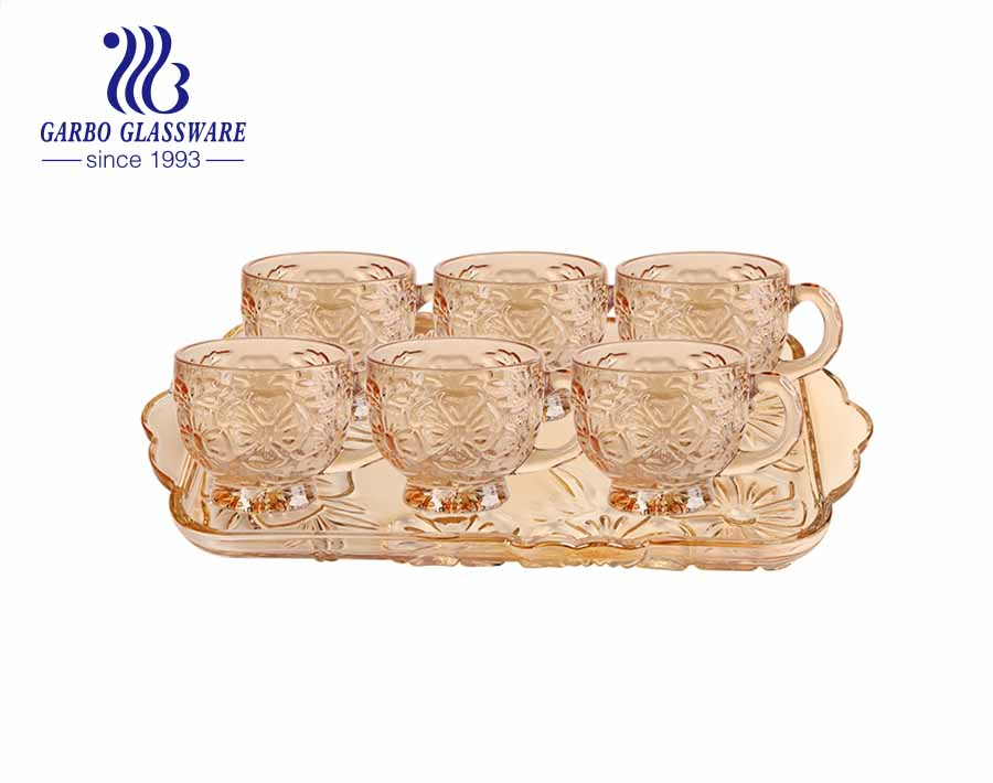 7 PCS Royal style champagne color ion-plating glass coffee mug with engraved pattern and tray set