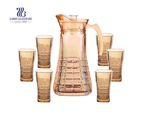 Taza de café de cristal con baño de iones de color champán estilo real de 7 piezas con patrón grabado y juego de bandeja