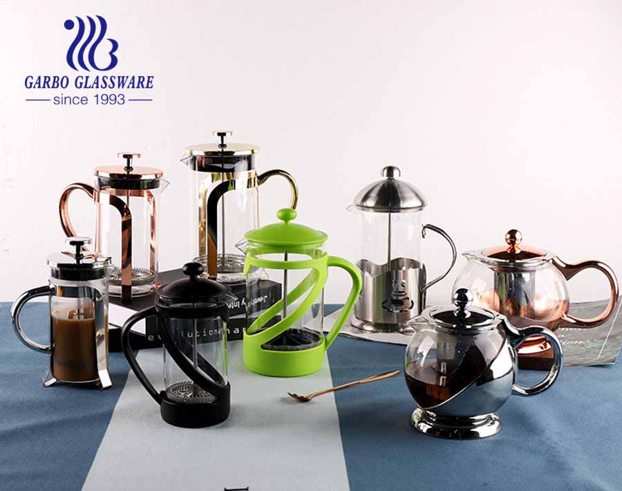 Heat Resistant Borosilicate Glass French Press Coffee Maker Stainless Steel Insulated Coffee Press