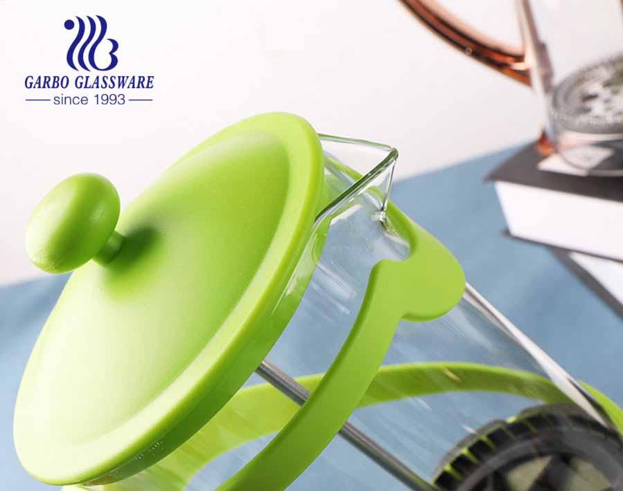 Prensa de café de prensa francesa de vidrio de borosilicato resistente al calor Prensa de café aislada de acero inoxidable