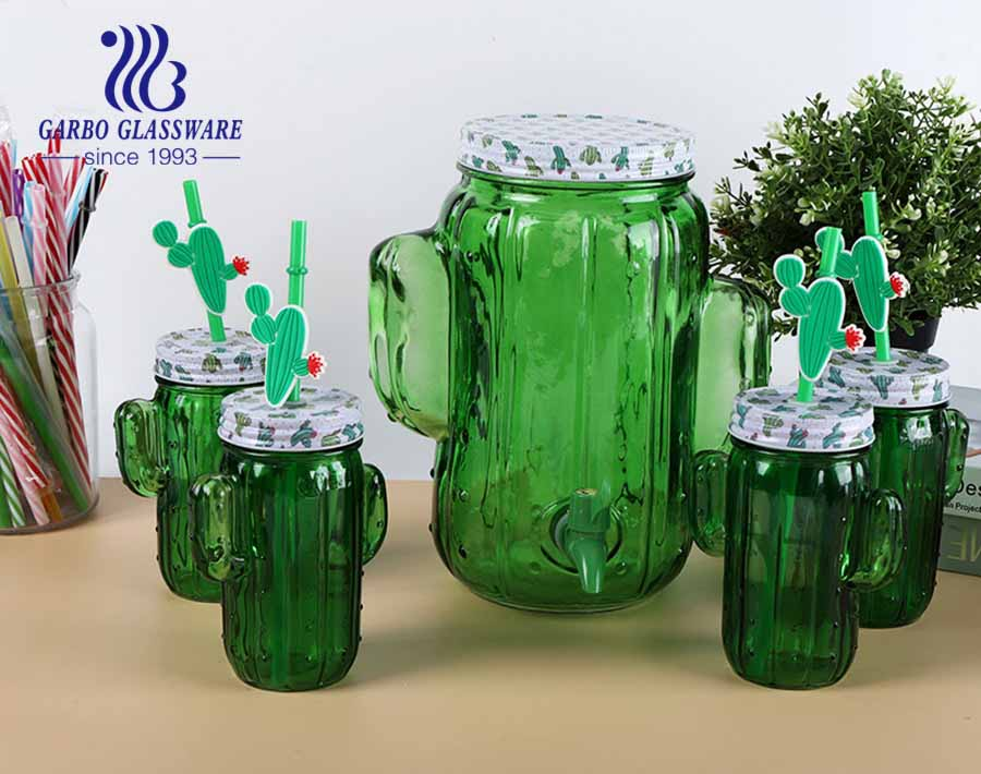 Green colored cactus 450ml mason jar drink cup with 5liter glass beverage dispenser with spigot