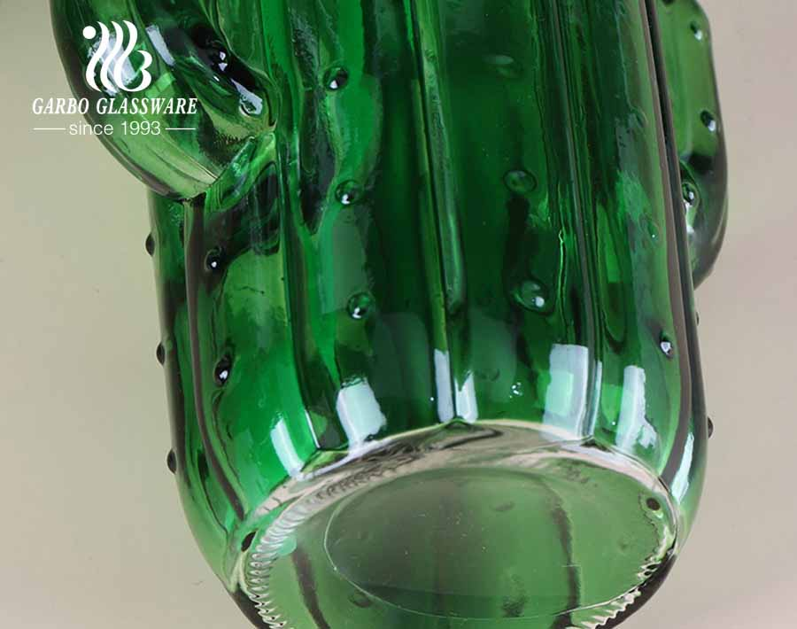 Taza de bebida de tarro de masón de 450 ml de cactus de color verde con dispensador de bebidas de vidrio de 5 litros con espita
