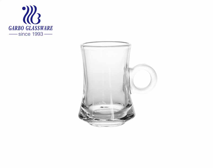 4oz Garbo new design Turkish style glass tea mugs unique glass cups with handle