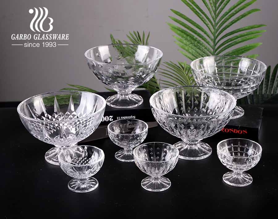 New design pattern clear engraved glass ice cream salad bowl set with 2 sizes of 4.5inch and 9inch