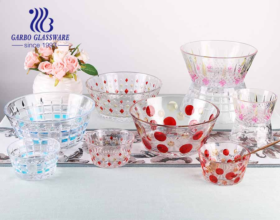 New pattern clear embossed glass salad bowl set with customizing sprayed color design