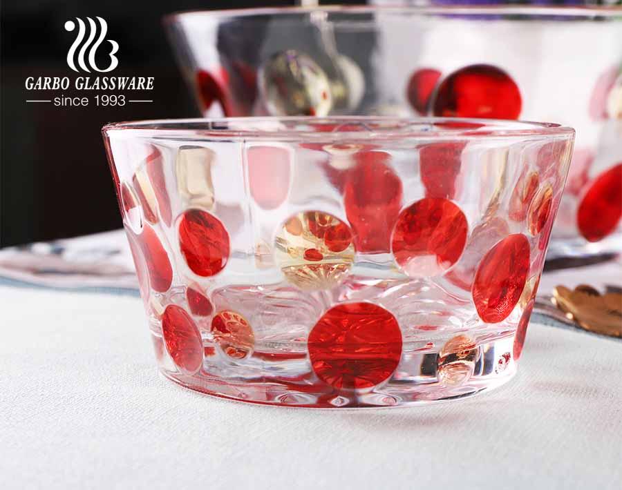 Nuevo sistema de ensaladera de vidrio en relieve transparente con patrón con diseño de color rociado para requisitos particulares
