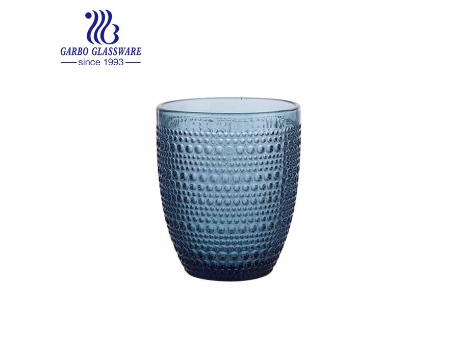 300ml blue solid color glass water tumblers egg shape glassware hot sale for christmas