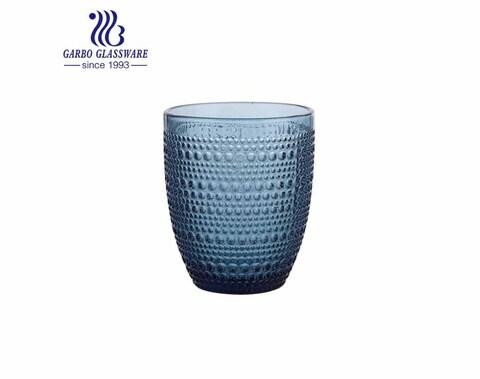 Venta caliente de la cristalería de la forma del huevo de los vasos de agua de cristal del color sólido azul 300ml para la navidad