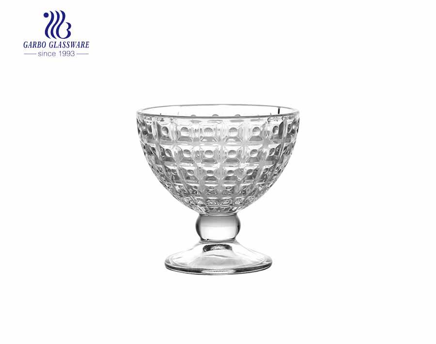 Diseño de diamante vintage Púrpura Rojo Copa de helado de vidrio sin plomo Tazón de postre de 11 oz Tazón de postre de vidrio de soda Taza de jugo de vidrio con patas