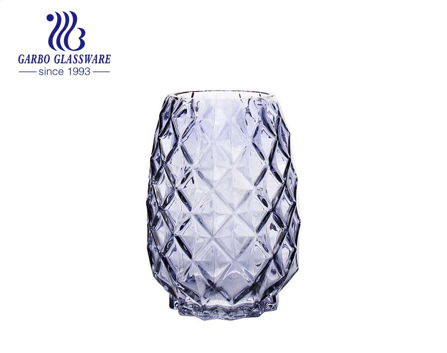 Romantic  Ideal Wedding Use Purple Glass Vase Glass Flower Holder Fancy Engraved pattern glass vase
