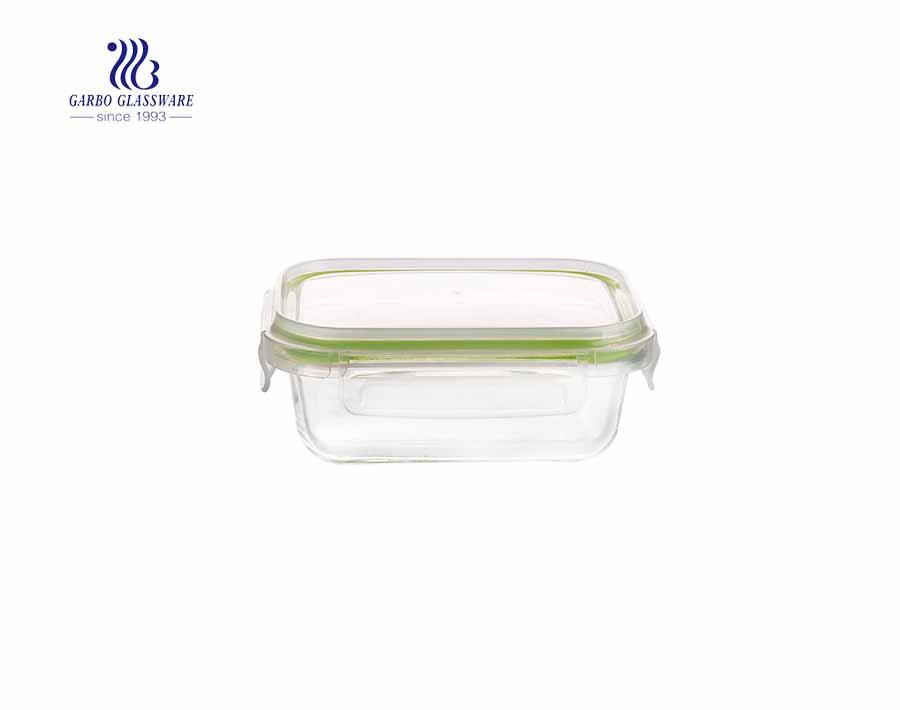 أوعية تخزين زجاجية مستطيلة الشكل بسعة 840 مل مع أغطية أدوات المائدة