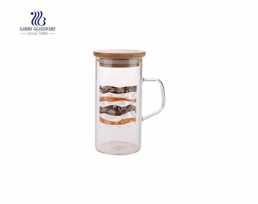 Novo conjunto de bule de vidro de borosilicato com xícaras de alça para suco de frutas Conjunto de vidro de água com 5 unidades